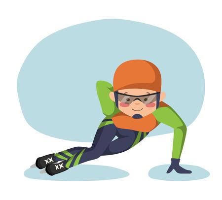 speed skating: Illustration of speed skating. A skater glides around the stadium.