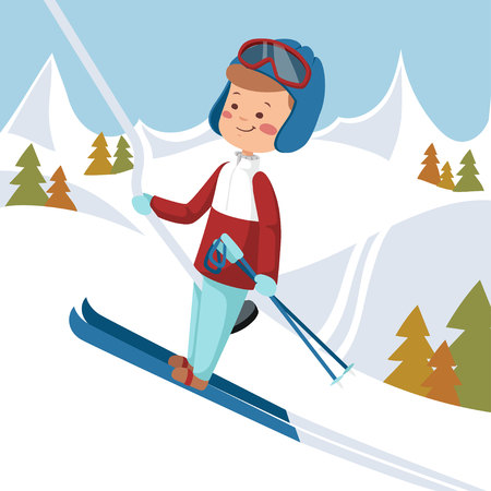 Man goes on skis. Vector illustration. The guy rises on the lift to the mountain.
