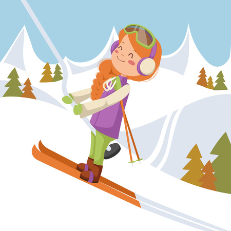 The girl climbs on the lift up the mountain. Girl on skis in the glasses.