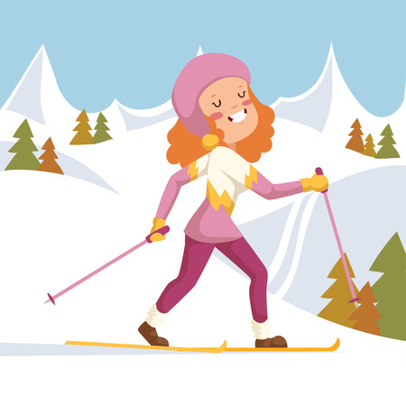 people in action: She happily run on skis. On the background of mountains and fir trees.