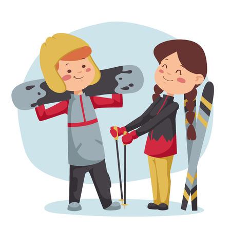 冬のスポーツのイラスト。男の子と女の子、降下後残りを持っています。  イラスト・ベクター素材