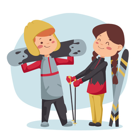 sports girl: Winter sports illustration. Boy and girl have a rest after the descent.