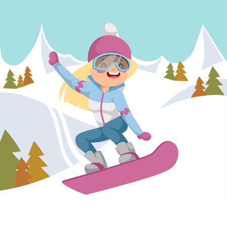 Elle monte sur un snowboard. Aller les montagnes en arrière-plan.