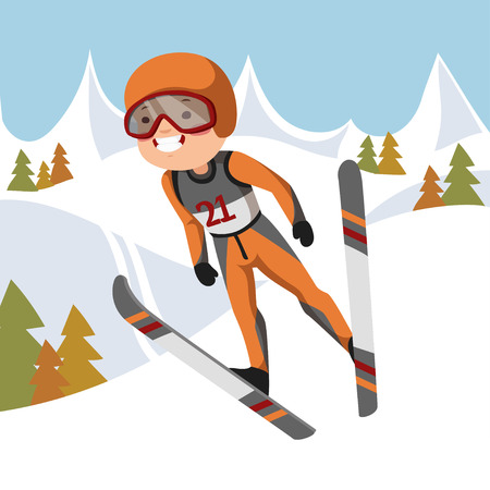 slopes: Boy jumping on skis. Background mountains and forest.