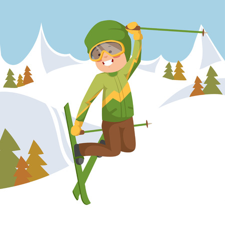 slope: Boy jumping on skis. Background mountains and forest.