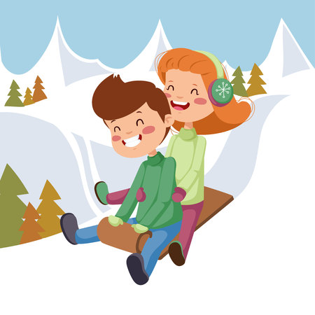 wintery: Children on sleds. Girl with a boy on a sled in the mountains.