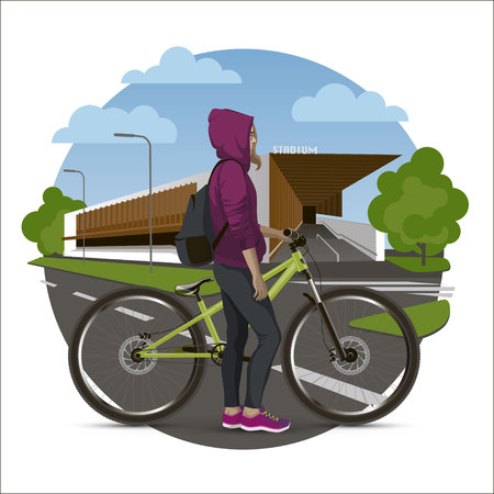 The girl on the mtb bike background to the stadium. Conceptual illustration.