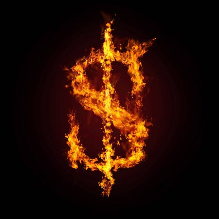 abstract fire: Financial crisis. Dollar in fire