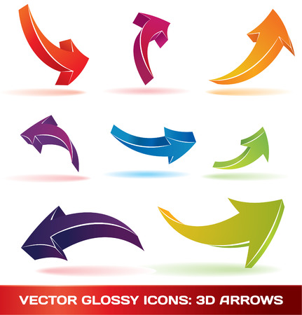 arrow circle: Colorful 3d arrows set