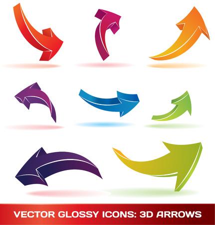 Conjunto de coloridos flechas 3d