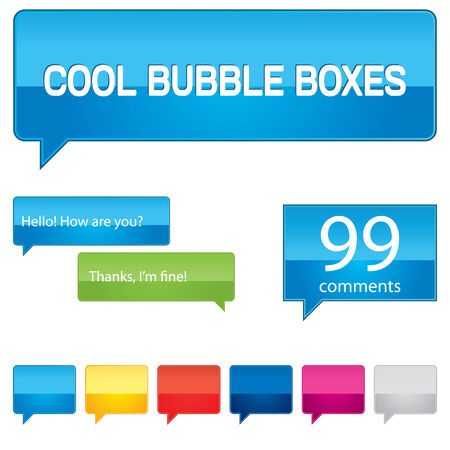 Colorful bubble boxes collection for your web site. Иллюстрация