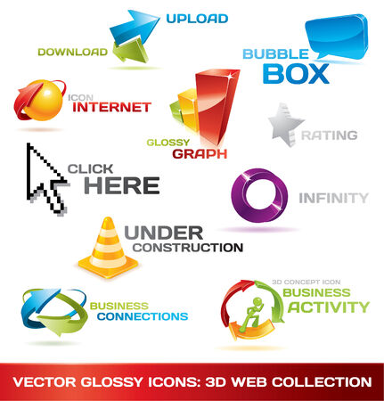 graphic business diagram collection: Colorful collection of 3d web icons Illustration