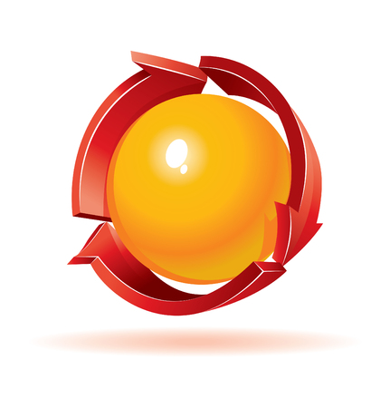 3d sphere and arrows Vector