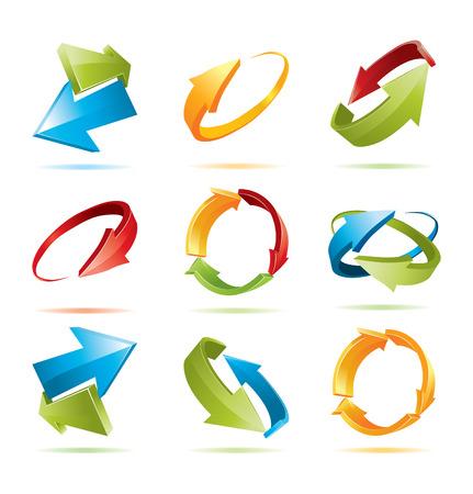 logo reciclaje: Conjunto de coloridos flechas 3d