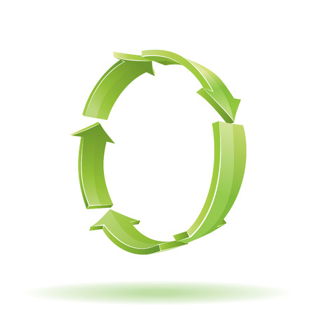 recycle symbol: 3D Arrows. Recycle symbol Illustration