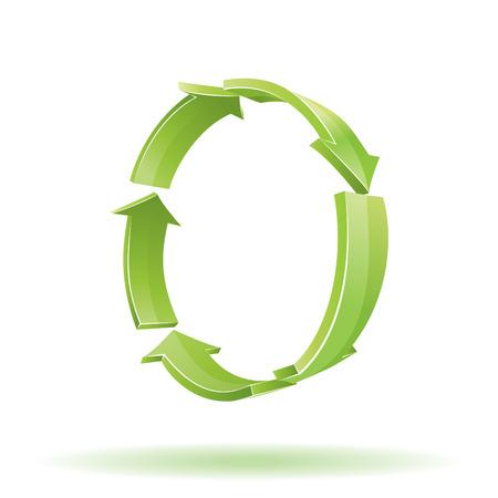 reciclar: 3D Arrows. Recycle symbol Ilustração