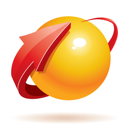 red sphere: 3D sfera e freccia