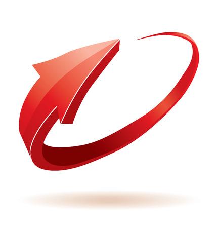 3D flecha roja de brillante Ilustración de vector