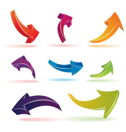 flecha azul: Conjunto de coloridos flechas 3d  Vectores
