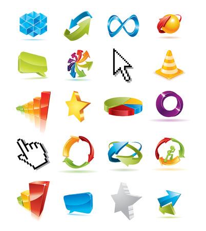 favorite colour: Colorful set of design elements for your business artwork.