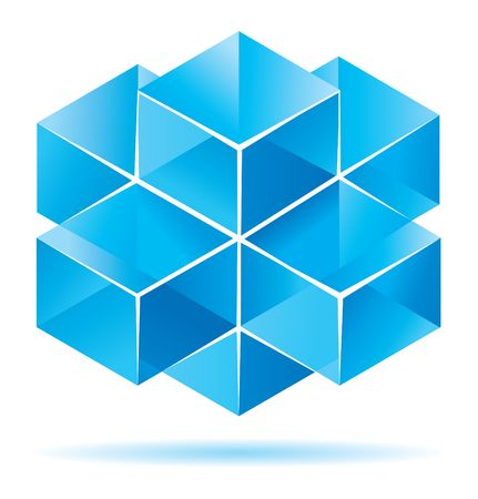 dimensional: Blue cube design for business artwork