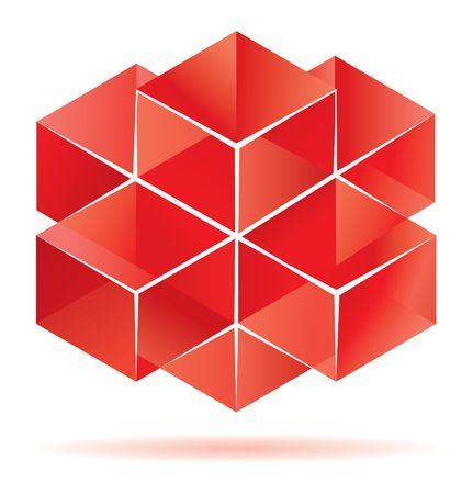 red cube: Progettazione dei cubi rossi per la grafica aziendale  Vettoriali