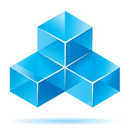 three dimensional shape: Blue cube design for business artwork