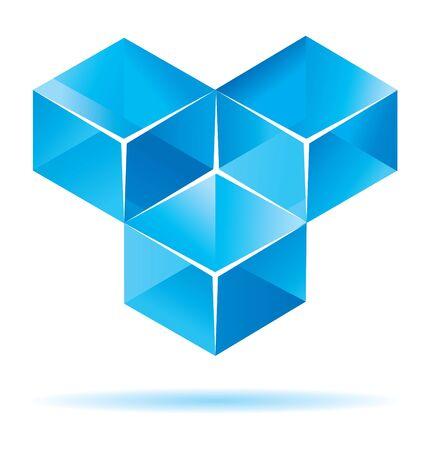 Blue cube design for business artwork Vector