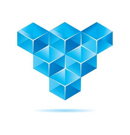 objetos cuadrados: Cubo azul dise�o para ilustraciones de negocio  Vectores