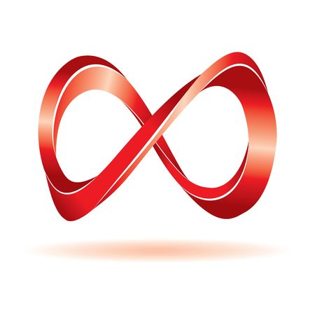 infinity symbol: Red infinity sign