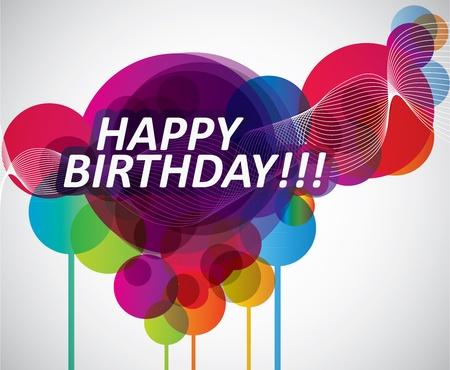 Banner de feliz cumpleaños colorido Ilustración de vector