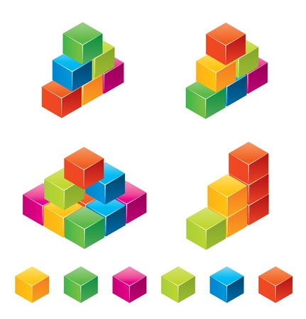 Vector colourful childrens blocks Vector