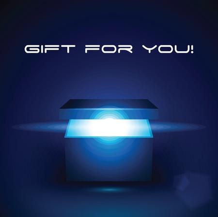 Vector illustration modifiable de la boîte de cadeau magique
