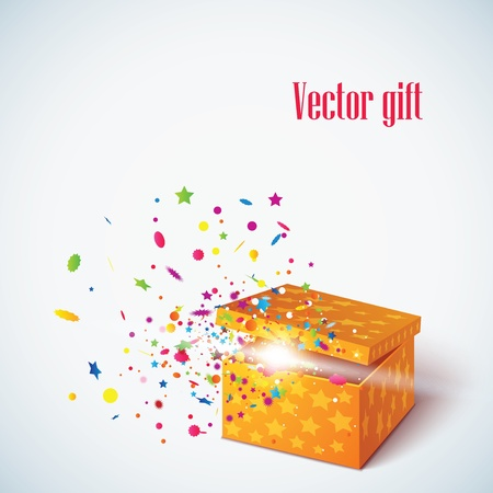 red gift box: Vector editable illustration of magic gift box