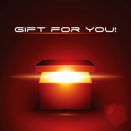 red gift box: Vector editable illustration of magic gift box