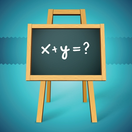 e learn: Chalkboard vector with x y=? text Illustration
