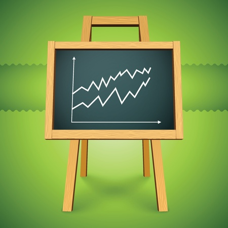 class room: chalkboard with finance business graph Stock Photo
