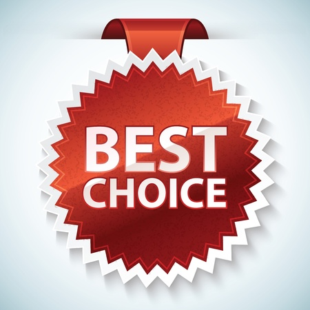 winning: best choice red label Stock Photo