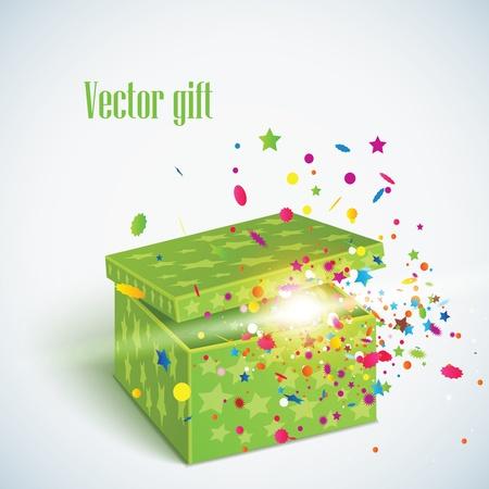 editable illustration of magic gift box