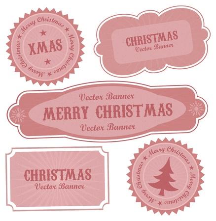 Christmas Vector Retro Design Labels