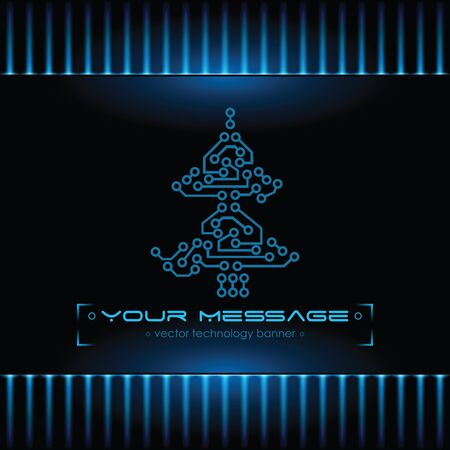 Christmas tree design. Technology background. photo