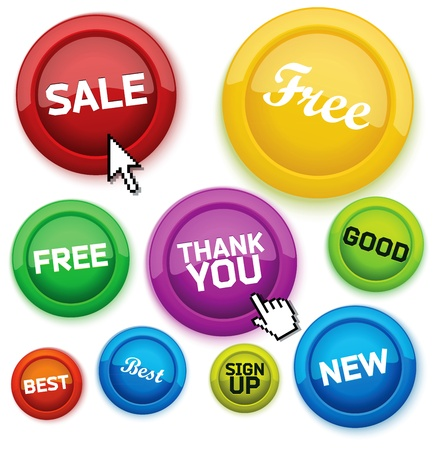 Cool glossy buttons for your business website. Stock Vector - 11140685