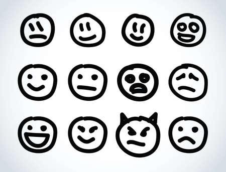 splotches: Hand drawn smile face Illustration design elements  Illustration