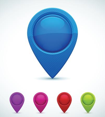 pushpins: Conjunto de marcadores colorido mapa