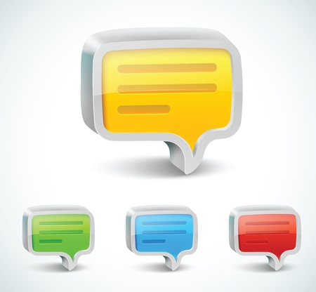 Colorful 3d bubble speech icon Vector