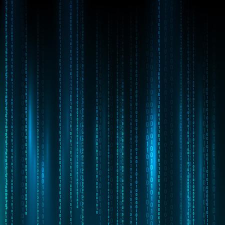 抽象行列の背景。バイナリのコンピューター コード。コーディングハッカー概念。背景イラスト。