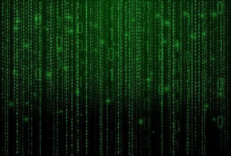 Estratto Matrix Background. Di codice binario computer. Coding concetto / Hacker. Sfondo Illustrazione. Vettoriali