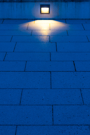 blue hour: Light shining on the floor during blue hour