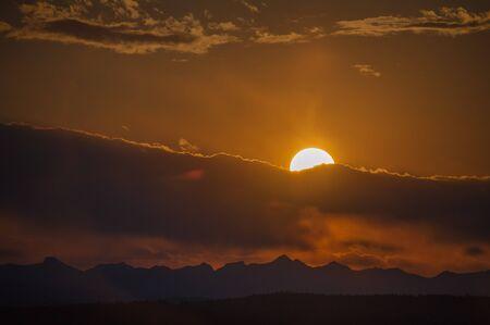 alberta: Sunset over the Rocky Mountains Calgary Alberta Stock Photo