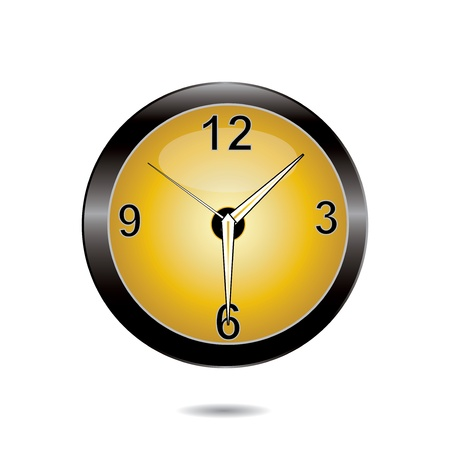Clock yellow circle icon on a white background Illustration